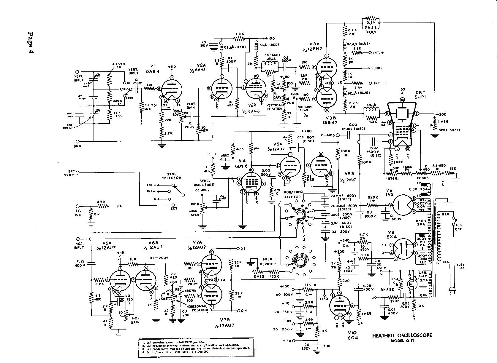 Electronics Kits B W Tv Circuit Diagram Heathkit O 11 Oscilloscope Schematics